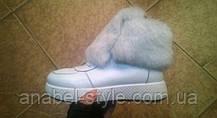 Черевики зимові з натуральної шкіри з опушкою з натурального хутра на шнурівці білого кольору код 1208, фото 3