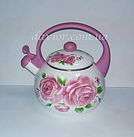 """Чайник эмалированный со свистком 2л"""" Розовый цветок"""""""