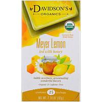 Davidson's Tea, Органический, Чай с лимоном Мейера и медом, Без кофеина, 25 пакетов, 2,18 унции (62 г)