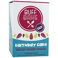 Buff Bake, Торт на день рождения, миндальный протеиновый спред, 10 пакетиков для выдавливания, 1,25 унции (36 г) каждый