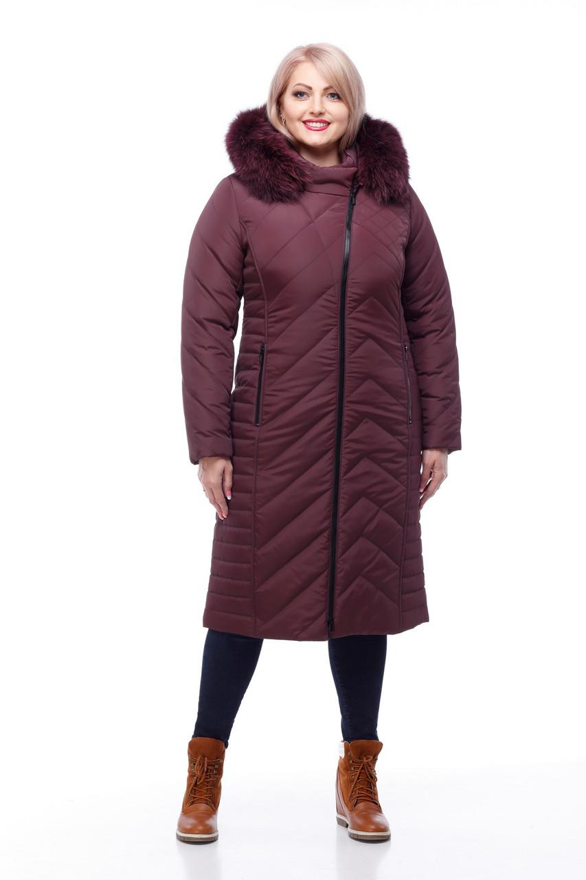 Женское пальто с отделкой из натурального меха песца