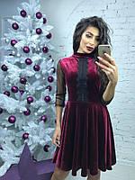 Велюровое платье с отделкой из кружева и рукавами из сетки 43652