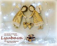 Авторская кукла новогодняя ангелочек тильда золотой