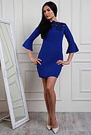 Синее женское платье с креп дайвинга 44-50