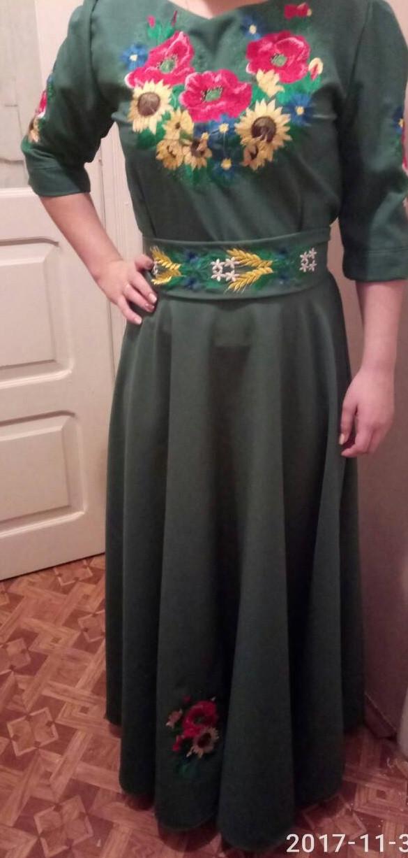 Вышитое длинное платье Подсолнух с вышитым поясом