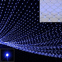 Новогодняя гирлянда сетка 240 LED на прозрачном проводе цвет синий(неоновой)