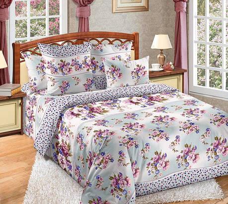 Двуспальный евро комплект постельного белья (перкаль) Николь, фото 2