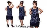 Платье Ткань шифон, подклад масло №243-темно-синий бел. сердечки