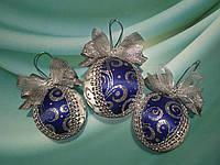 Подарочный набор синих новогодних шаров на елку 2020.