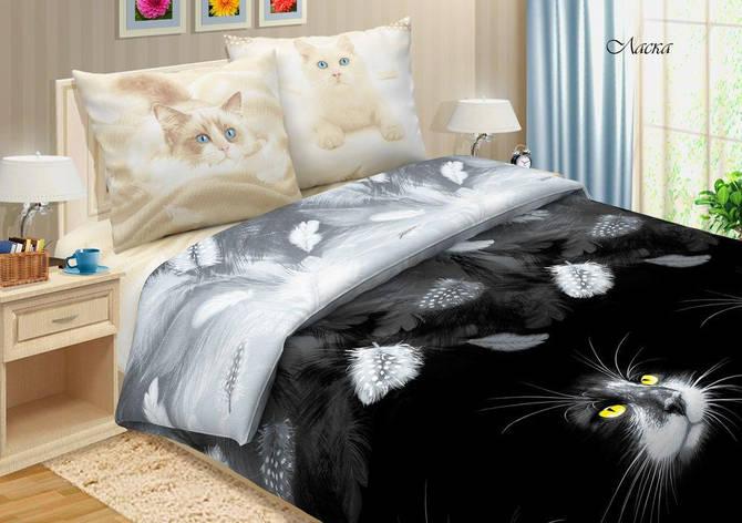 Двуспальный евро комплект постельного белья (поплин) Ласка, фото 2
