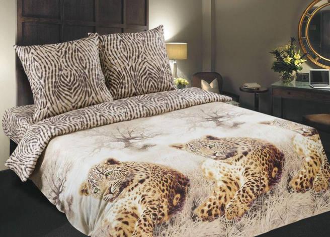 Двуспальный евро комплект постельного белья (поплин) Леопард, фото 2