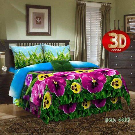 Двуспальный евро комплект постельного белья Анютины глазки, фото 2