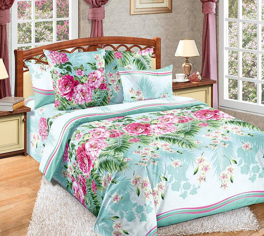 Двуспальный евро комплект постельного белья Тропикана, фото 2