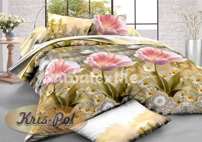 Комплект постельного белья евро 200*220 хлопок  (5718083) TM KRISPOL Украина, фото 2