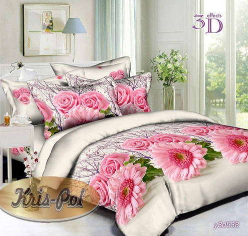 Комплект постельного белья евро 200*220 хлопок  (5718538) TM KRISPOL Украина, фото 2