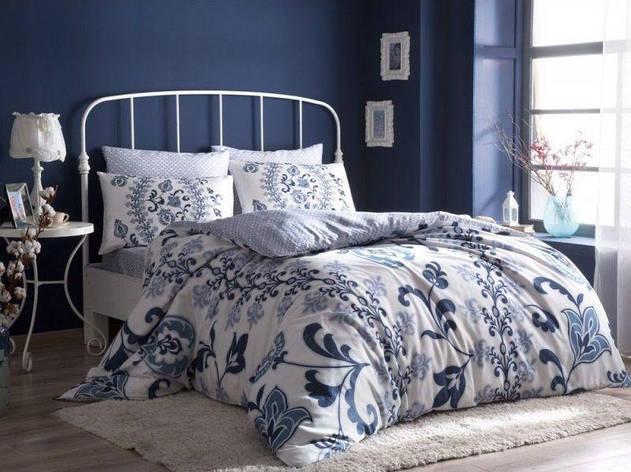 Постельное белье Tac сатин - Luciana синее евро, фото 2