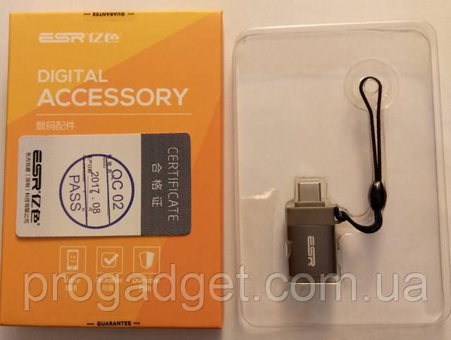 OTG адаптер Type-C to USB 3.0 ESR серый OTG кабель для нового Samsung S8/S8+/Note, Huawei P10,MacBook 2018