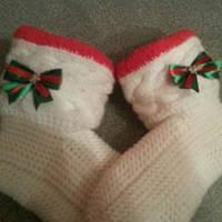 Вязаные носки Новогодние белые