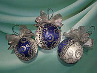 Набор новогодних синих шаров на елку Новогодний подарок