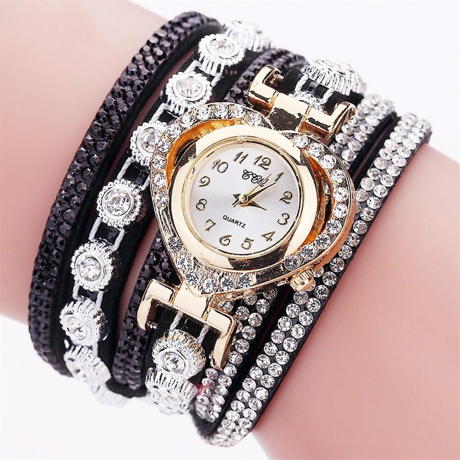 9285654321c5 Женские часы браслет со стразами и черным браслетом, Жіночий годинник  браслет з камінчиками - Смарт