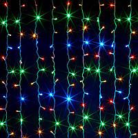 Гирлянда штора-дождик 120 LED на прозрачном проводе цвет мультик
