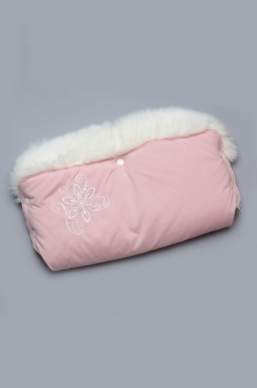 Муфта теплая для коляски, санок с меховой опушкой розовая с серебристым принтом