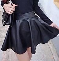 Кожаная юбка клеш ( 015)