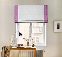 Римская штора стелла лён Св.серый кант Сиреневый 700*1700 изготовим по вашим замерам