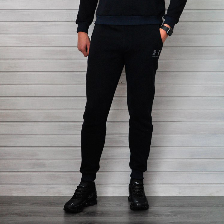Спортивные штаны Under Armour теплые мужские (черные), ТОП-реплика