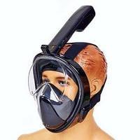 Маска для снорклинга с дыханием через нос Dorfin F-118-BK черная