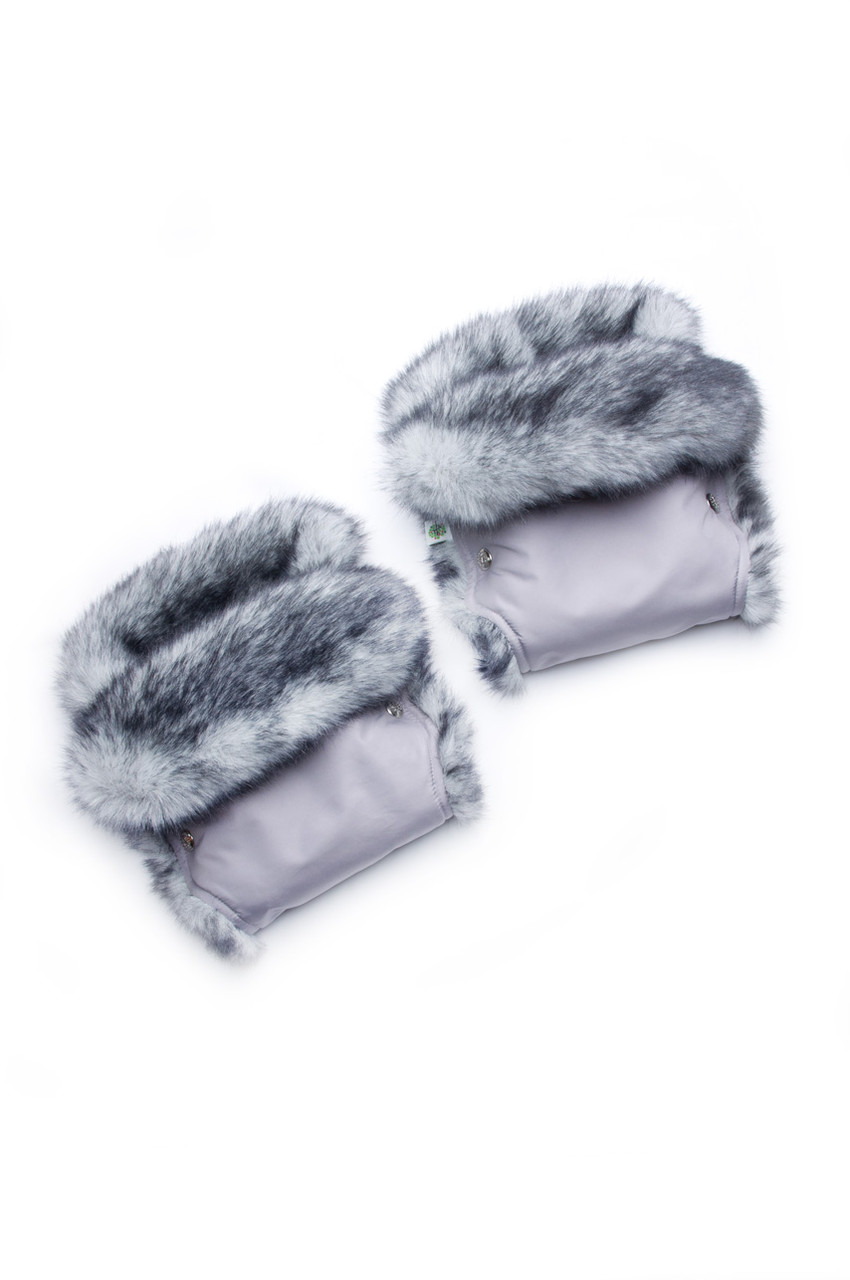 Рукавички для мамы на коляску (серый + мех кролик)