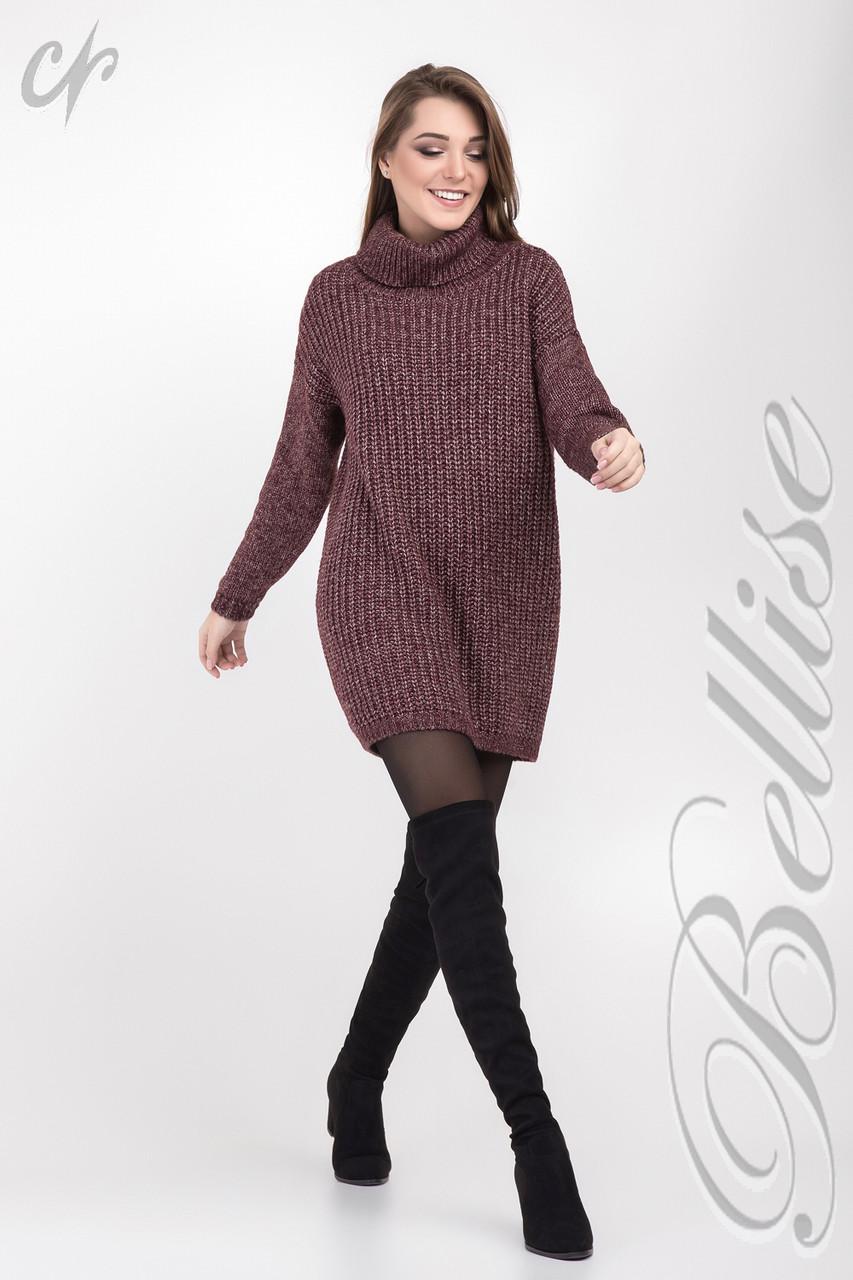 женский длиный вязаный свитер свободного силуэта и высоким горлом 42