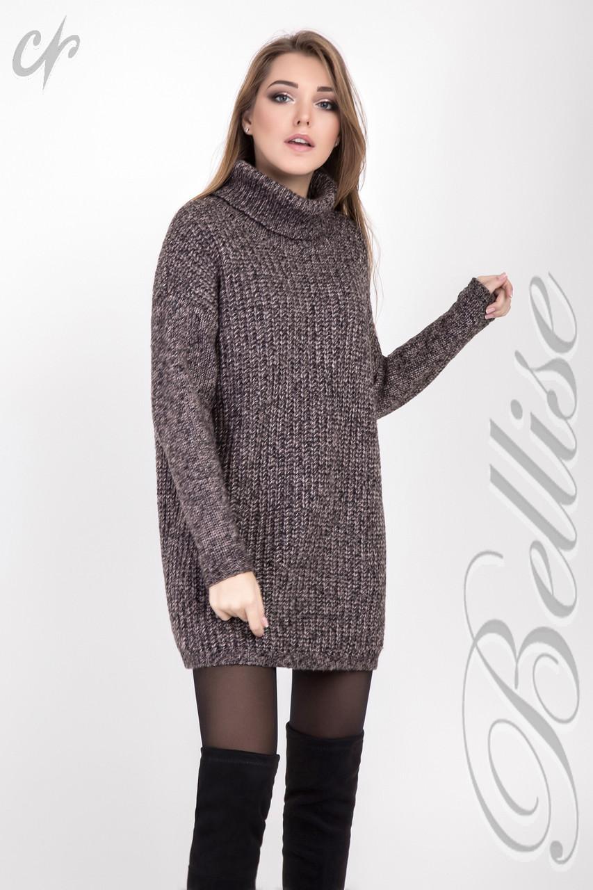 женский вязаный свитер с высоким горлом свободного силуэта 42 48