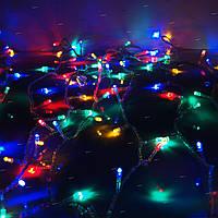 Новогодняя гирлянда сетка 240 LED на прозрачном проводе цвет мультик