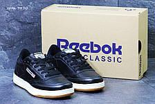 Мужские кроссовки Reebok кожаные,черные с белым, фото 2