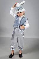 Карнавальный костюм на мальчика Зайчик серый атлас