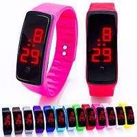 Яркие наручные LED 555 часы браслет 10 цветов