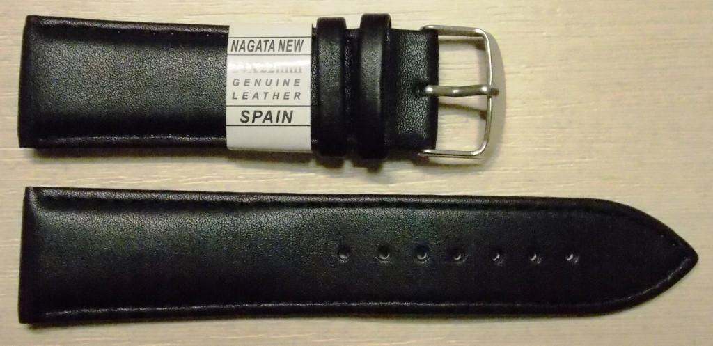 Ремешок кожаный NAGATA (ИСПАНИЯ) 24 мм, черный гладкий