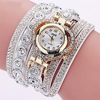 Женские часы браслет со стразами и белым браслетом, Жіночий наручний годинник зі стразами