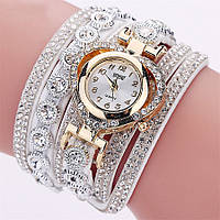 Женские часы браслет со стразами и белым браслетом