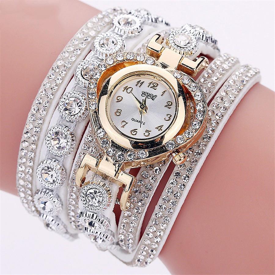 f727ce0378d3 Женские часы браслет со стразами и белым браслетом, Жіночий наручний  годинник зі стразами - Смарт