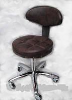 Стул для мастера маникюра , педикюра и парикмахера с спинкой темный шоколад