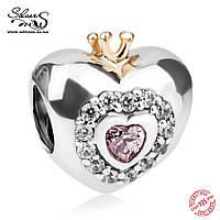 """Серебряная подвеска шарм Пандора """"Сердце принцессы"""""""