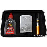 Набор 3в1 Зажигалка,Бензин,Мундштук №3862 Подарочный набор для мужчины