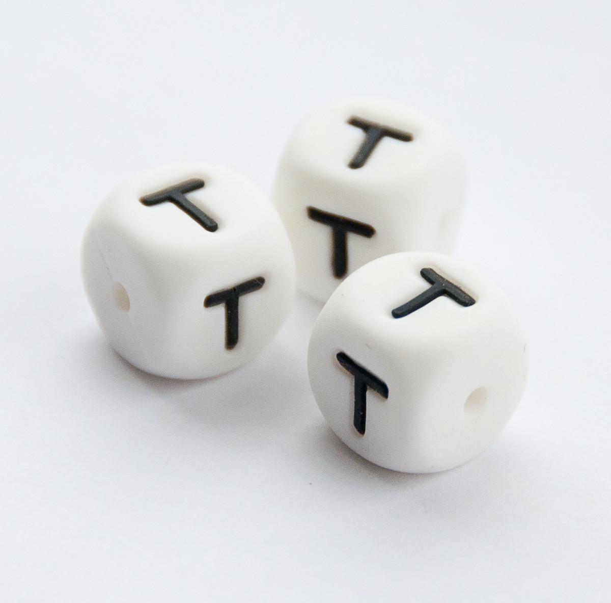"""Силиконовые бусины """"Буква T"""" кубики 12х12 мм"""
