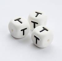 """Силиконовые бусины """"Буква T"""" кубики 12х12 мм, фото 1"""