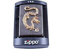 Зажигалка фирменная, брендовая бензиновая Zippo Золотой дракон №4227 + подарок бензин очищеный 125мл.
