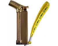 Зажигалка фирменная газовая боковая (турбо пламя) №4744-3 + газ в подарок. Горелка газовая.