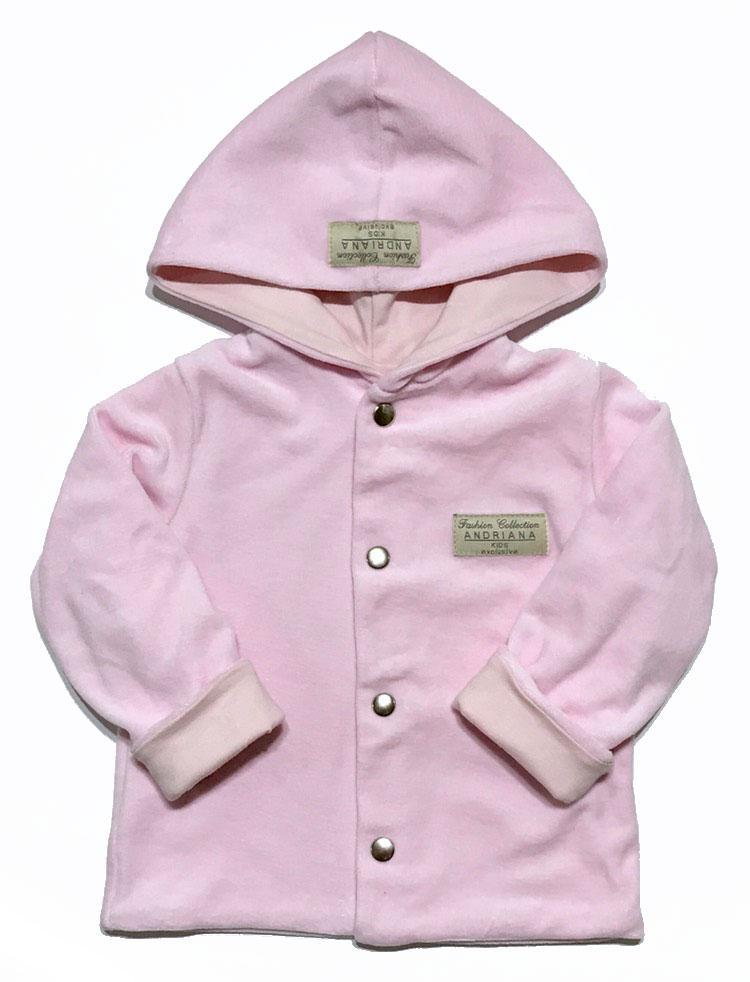 Кардиган велюровый Andriana Kids  6М,12М,18М, розовый