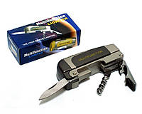 Зажигалка фирменная карманная с ножом штопором и открывалкой (острое пламя) №0648. Турбо-зажигалка. + газ!